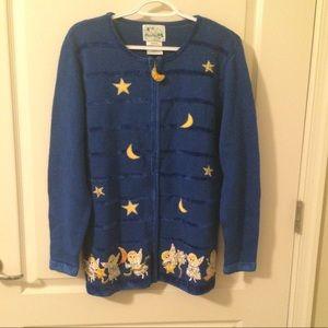 Quacker Factory Angels Cardigan Sweater M Blue